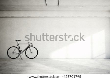Horizontal Photo Blank Grungy Smooth Bare Concrete Wall in Modern Open Space Studio with Classic bicycle. Soft Sunrays Reflecting on Wood Floor. Empty Abstract background - stock photo