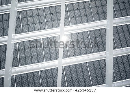 Horizontal Photo Modern Solar Panel with Sunrays Reflecting. Contemporary Building Architecture. Empty Abstract background mockup - stock photo