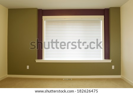 Horizontal photo of interior residential home accent wall painted green with large window and shade in background   - stock photo