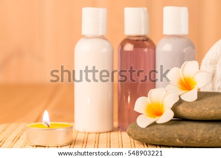 Horizontal Photo of objects for spa treatments closeup