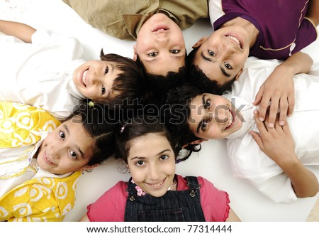 Horizontal  photo of six children group,  friends smiling isolated on white, boys and girls closeup - stock photo