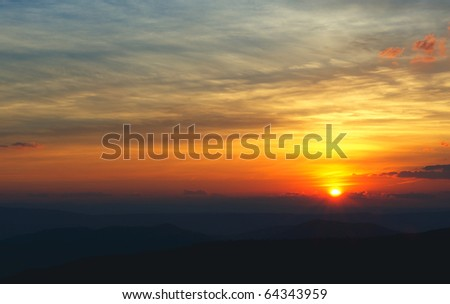 Horizontal photo of sunset over the Blue Ridge Mountains of Virginia