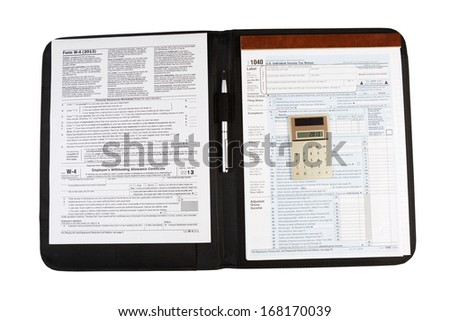 Horizontal photo of United States Tax Form 1040, for Individual Income, with Calculator and pen lying on nylon business folder isolated on white