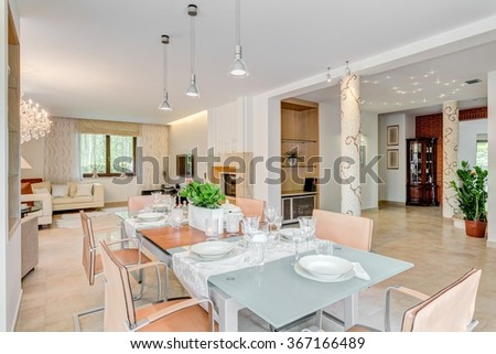 Horizontal picture of chic residence prepared for a big party
