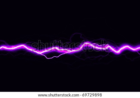 Horizontal pink spark on black background - stock photo