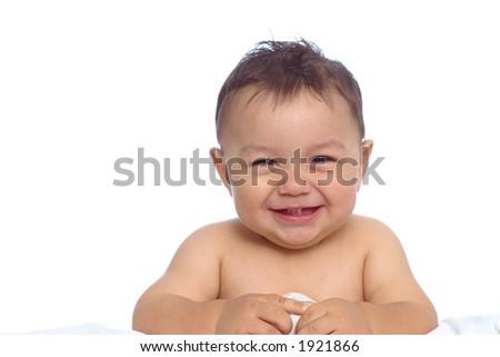 Horizontal portrait of a baby boy on white - stock photo