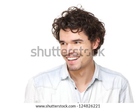 Horizontal portrait of a handsome young man smiling - stock photo