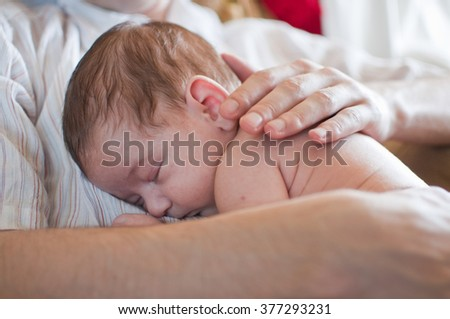 Horizontal portrait of the sleeping little baby