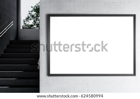 Horizontal poster mockup in a industrial black and white interior 3d render