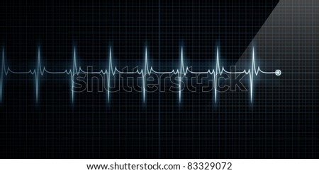 Horizontal Pulse Trace Heart Monitor - stock photo