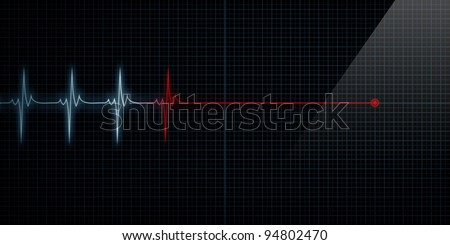 Horizontal Pulse Trace Heart Monitor At Death - stock photo