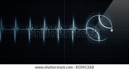 Horizontal Pulse Trace Heart Monitor with a baseball in line. Concept for sports medicine, baseball players, or die-hard baseball fans. - stock photo