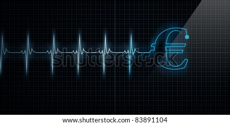 Horizontal Pulse Trace Heart Monitor with a blue Euro symbol in line. - stock photo