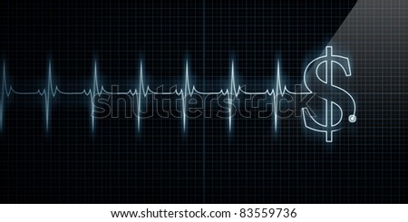 Horizontal Pulse Trace Heart Monitor with a dollar sign in line. - stock photo