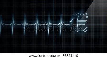 Horizontal Pulse Trace Heart Monitor with a Euro symbol in line. - stock photo