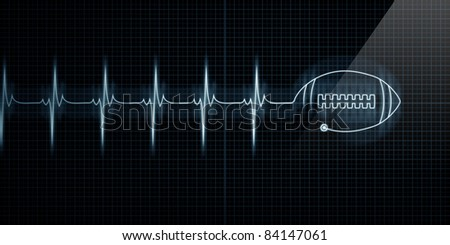 Horizontal Pulse Trace Heart Monitor with a football in line. - stock photo