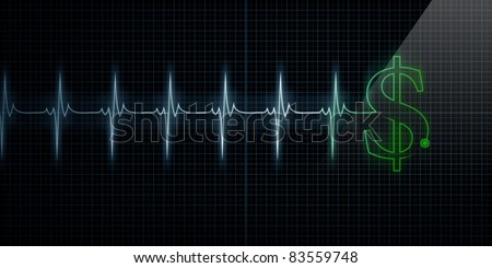 Horizontal Pulse Trace Heart Monitor with a green dollar sign in line. - stock photo