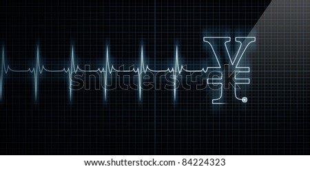 Horizontal Pulse Trace Heart Monitor with a Japanese Yen or Chinese Yuan symbol in line. - stock photo
