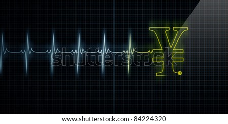 Horizontal Pulse Trace Heart Monitor with a Yellow Japanese Yen or Chinese Yuan symbol in line. - stock photo