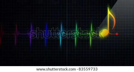 Horizontal Pulse Trace Heart Monitor with colorful music note in line. - stock photo