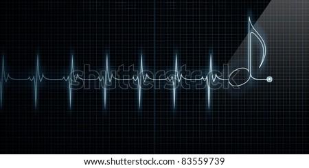 Horizontal Pulse Trace Heart Monitor with music note in line. - stock photo