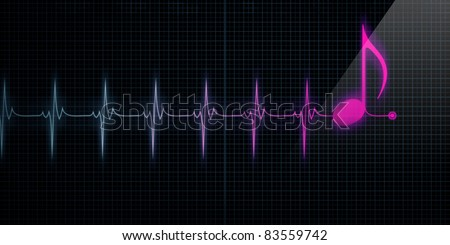 Horizontal Pulse Trace Heart Monitor with pink music note in line. - stock photo