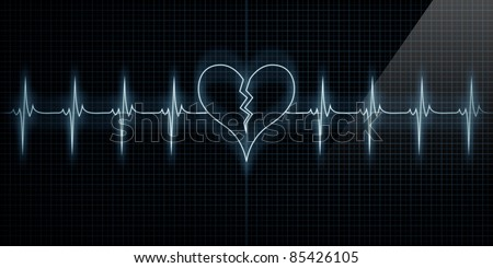 Horizontal Pulse Trace Heart Monitor with the symbol of a broken heart in line with the pulse. Concept for broken heart or heart attack or love loss.