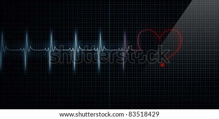 Horizontal Pulse Trace Heart Monitor with the symbol of a heart in line with the pulse as the line turns red. - stock photo