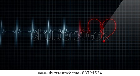 Horizontal Pulse Trace Heart Monitor with the symbol of a red broken heart in line with the pulse. Concept for broken heart or heart attack. - stock photo