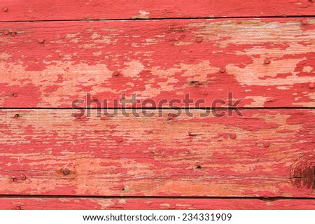 Horizontal red painted wooden siding for use as texture