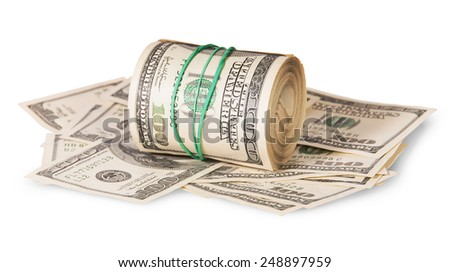 Horizontal roll on the hundred dollar bills isolated on white background