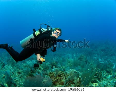 Horizontal Scuba Diver with Copy Space on a Caribbean Reef - stock photo