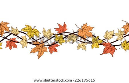 Horizontal seamless pattern of branch autumn color leaves
