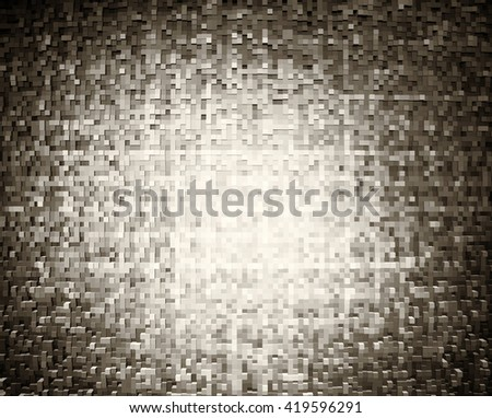 Horizontal sepia 3d extruded cubes illustration background - stock photo