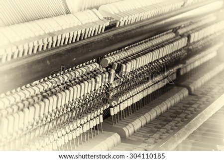 Horizontal sepia inside piano composition background