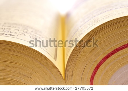 Horizontal shallow focus close up of yellow pages of a phone  book - stock photo