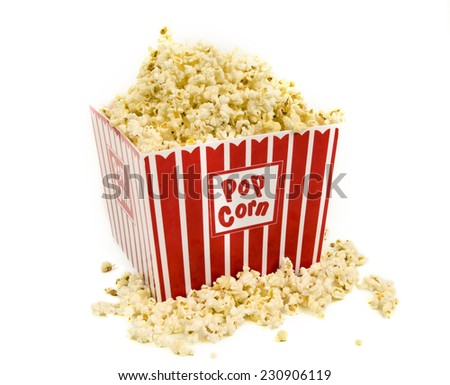 Horizontal Shot Of A Big Bucket Of Popcorn On White Background - stock photo