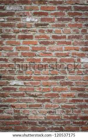 Horizontal shot of an old red brickwall to be used as background or texture - stock photo