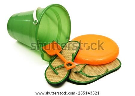 Horizontal Shot Of Bright Colored Beach Toys/ Summer Fun - stock photo
