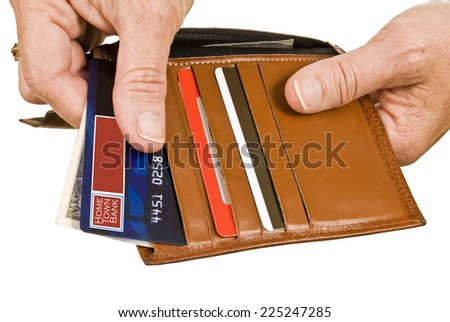Horizontal Shot Of Paying With Debit Or Credit Card/ Isolated On White Background - stock photo