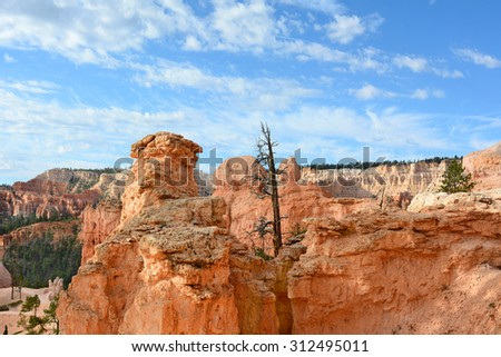 Horizontal shot of the Amphitheater seen from the Queens Garden Trail in Bryce Canyon National Park, Utah. The Amphitheater is famous for it numerous formations called Hoodoos. - stock photo
