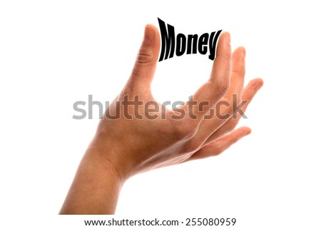 "Horizontal shot of two fingers squeezing the word ""Money"" between two fingers, isolated on white. - stock photo"