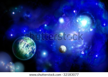 Horizontal space with two planets and bright nebula