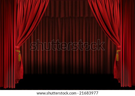 Horizontal Stage Drapes Open For Presentation. Insert Your Own Text or Image