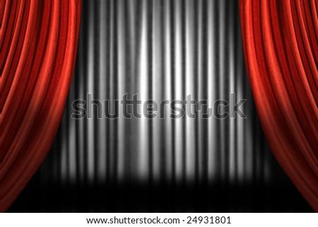 Horizontal Stage Drapes With Dramatic Lighting - stock photo