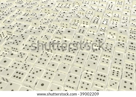 Horizontal surface background formed by many small 3d dice