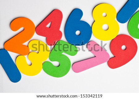 Horizontal trail of ascending numbers - stock photo