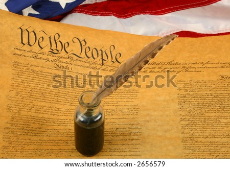 Horizontal USA Flag, Constitution, and Quill Pen in Inkwell - stock photo