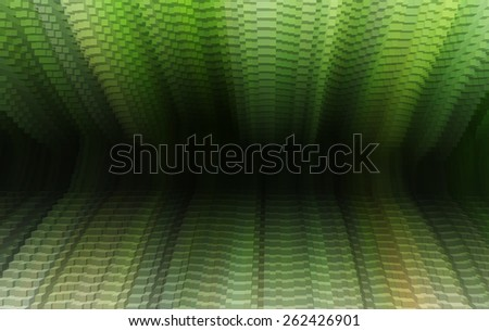 Horizontal vibrant green vivid business presentation 3d extruded cubes tunnel abstraction background backdrop - stock photo