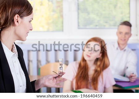 Horizontal view of a lesson in classroom - stock photo